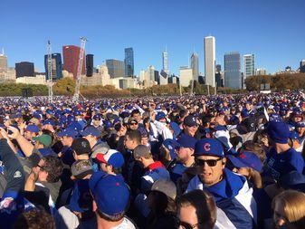 Cubs fans pack Grant Park.
