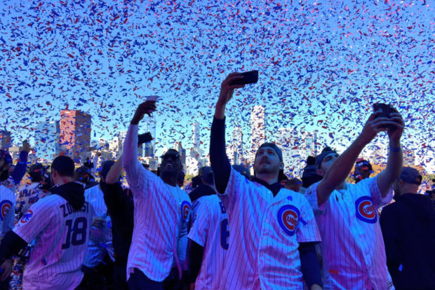 The Cubs celebrate their championship with a parade starting at Wrigley Field.