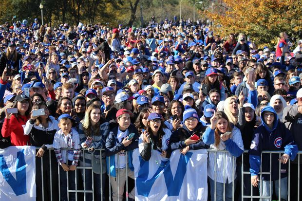 Millions of Chicago Cubs fans gathered in Grant Park and on Downtown streetsto celebrate the Cubs' historic World Series win Friday.