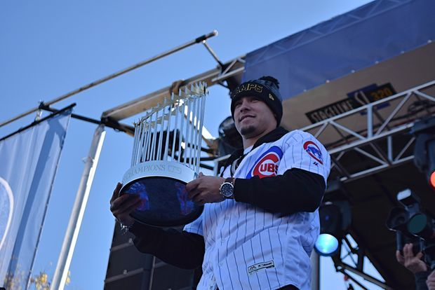 Javy Baez with the Commissioner's Trophy during Friday's Cubs rally.