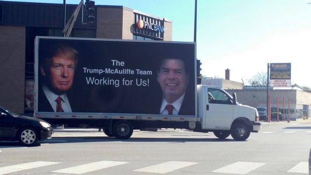 A traveling billboard appears to support both Rep. Michael McAuliffe (R-Edison Park) and Donald Trump, but the ad was funded by a PAC aligned with Democrats.