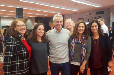 Mayor Rahm Emanuel and Ald. Michele Smith (left) are joined by Lincoln Park High School community members Cindy Schnoll, Nada Riley, Jennifer Fardy, and Amy Zemnick at Saturday's announcement.