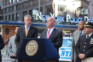 Mayor Bill de Blasio and NYPD Police Commissioner James O'Neill outlined election day security plans in Times Square on Monday, Nov. 7, 2016.