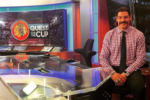 Brent Sopel played for the Blackhawks, winning the Stanley Cup in 2010, and does TV studio work for NHL games.