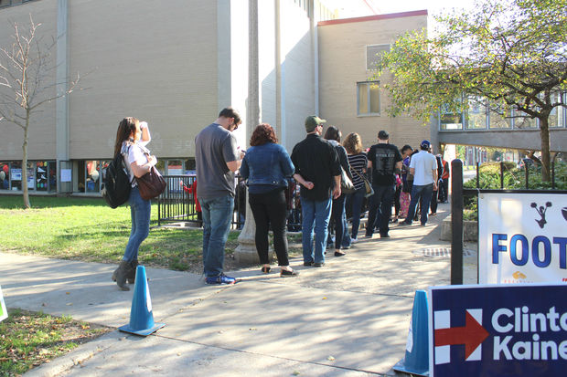 Voters hoping to avoid lines on Tuesday got stuck for hours Monday at Welles Park.