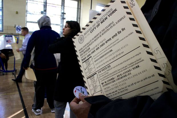 Voters cast ballots at P.S. 250 in Williamsburg on Tuesday.