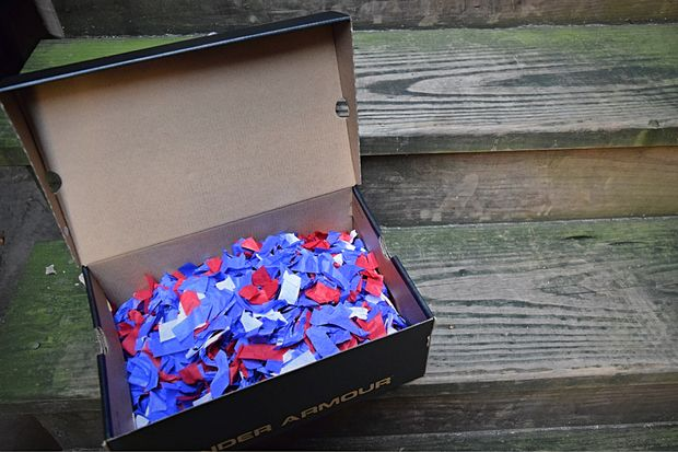 A box of confetti from the Cubs rally in Grant Park.
