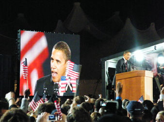 The rally for Barack Obama in Grant Park on Election Day 2008.