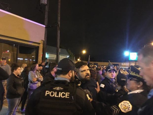 Blue Lives Matter activists gathered in Mount Greenwood Tuesday night.
