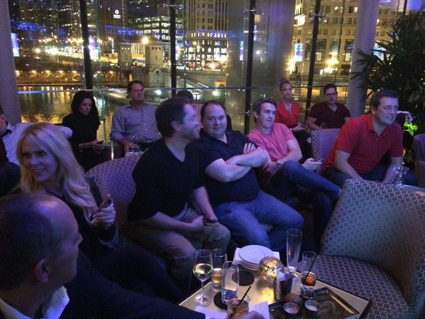 Trump supporters gather to watch the results at Trump Tower.
