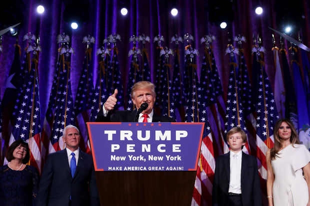 Donald Drumpf gives his victory speech at the Hilton Hotel in Midtown after winning the presidential election, Nov. 9, 2016.