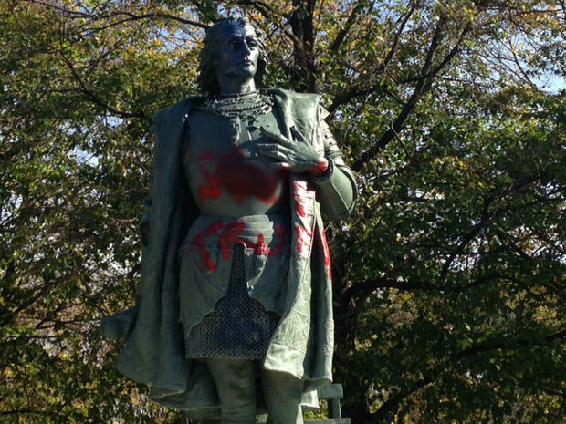 Columbus statue tagged.