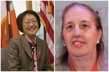 Margaret Chin and Gale Brewer are leading a rally at Dept. of Buildings headquarters on Thursday, Nov. 10, 2016.