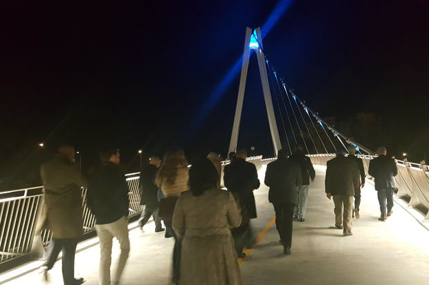 The bridge, which is 20 feet wide, is the city's first suspension bridge, officials said.