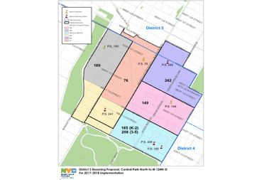 The DOE created new zone lines in the northern part of the district because of the proposed re-siting of P.S. 241 to the P.S. 76 building.