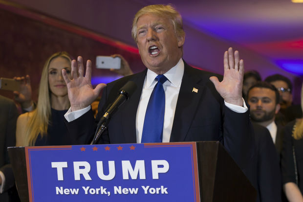 Front runner for the Republican presidential nomination Donald Trump gave a speech at Trump Tower in Midtown Manhattan on April 27, 2016,  to mark his victory in all five primary races.