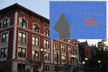 Inset, an interactive map created by DNAinfo shows the area of Crown Heights where a majority of people chose Donald Trump, centered around the Hasidic Lubavitch community headquartered at 770 Eastern Parkway, pictured, and Kingston Avenue.