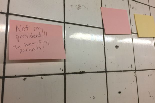 New Yorkers scrawled messages on Post-Its in the 14th Street subway passageway after Tuesday's election.