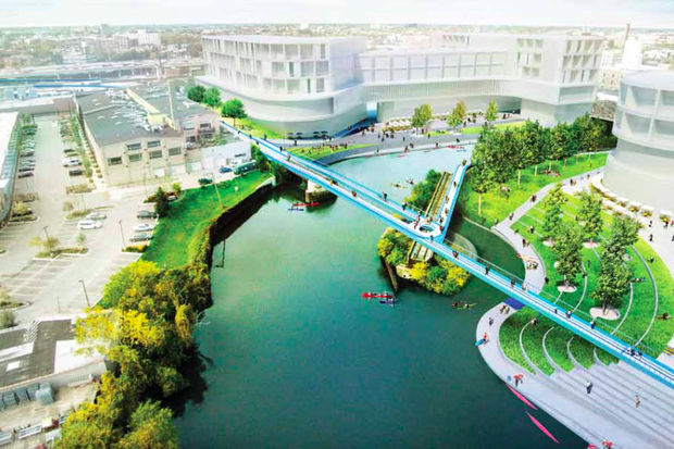 An elaborate rendering demonstrates how the 606 could connect to a Chicago River Trail via underpasses, ramps and bridges.