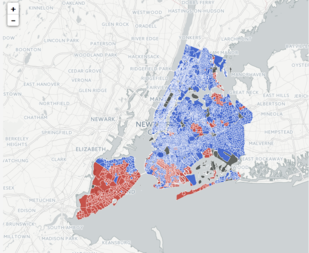 New York City was a sea of blue for Hillary Clinton in Tuesday's presidential election. The former New York state senator received 78.5 percent of the vote compared to just 18.4 percent for fellow New Yorker and now President-elect Donald Trump. But some parts of the city are Trump country. On Staten Island, Trump won almost 57 percent of the vote compared to 40 percent for Clinton.
