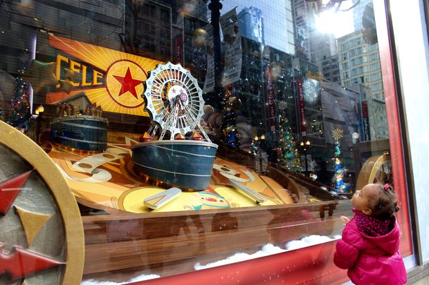 This year's Holiday windows at Macy's also celebrate the world champion Cubs.