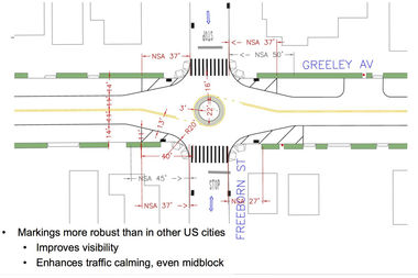 The city plans to start construction on four traffic circles along crash-prone Greeley Avenue in the spring, which they hope will curb speeding and crashes on the block.