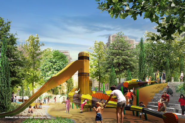 A giant pipefish-shaped climbing structure and slide will be the centerpiece of the new playground.