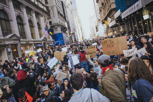 Protesters marched in New York for the fifth straight day Saturday, part of a series of actions across the country protesting the election of Donald Trump.