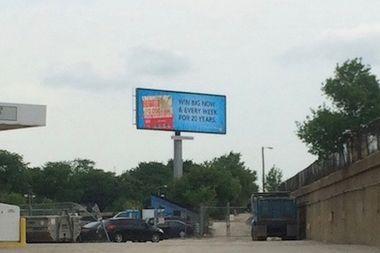 An electronic billboard in Jefferson Park.