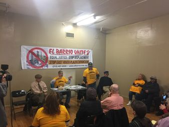 El Barrio Unite held a press conference opposing the proposed rezoning of East Harlem.