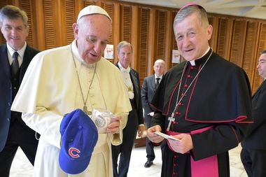 Last fall, Pope Francis received a Cubs baseball cap from Chicago Archbishop Blase Cupich.