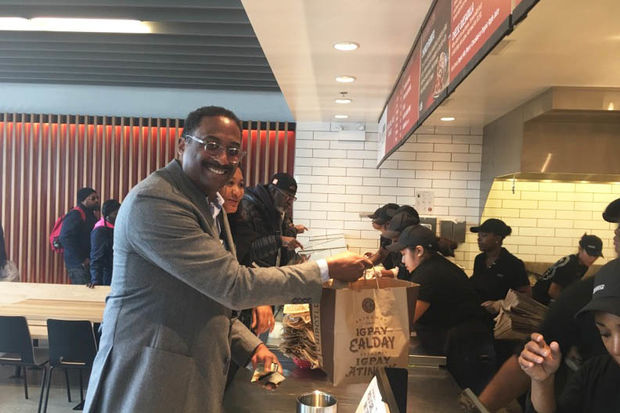 Leon Walker gets served at Chipotle's new Englewood location Tuesday.