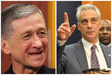 Mayor Rahm Emanuel (right) agreed to discuss a plan for tax credits with Roman Catholic Archbishop Blase Cupich, according to an email.