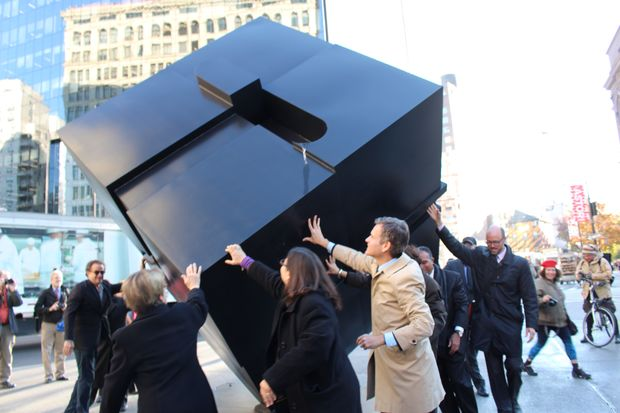 DDC Commissioner Dr. Feniosky Peña-Mora, DOT Commissioner Polly Trottenberg, Councilwoman Rosie Mendez, Senator Brad Hoylman and others joined in spinning the Alamo Cube at a ribbon-cutting ceremony Wednesday morning.