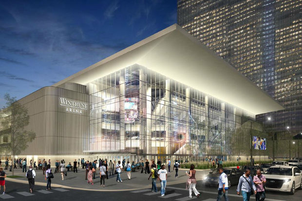 Renderings and pictures of Wintrust Arena under construction near McCormick Place.