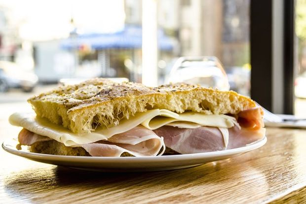 Prosciuotto and asiago cheese on freshly baked focaccia at Flora, an Italian cafe that opened recently on Eighth Avenue and 11th Street.