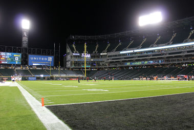 Attendance was sparse at the first football game in the 25-year history of Sox Park.