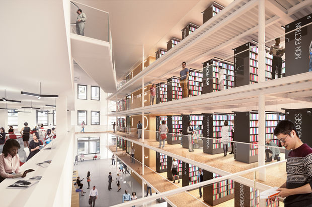 The new Mid-Manhattan Library will open in 2020 with a five-floor open space and a roof terrace.