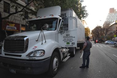 The 30-year-old driver of this truck hit a cyclist traveling northbound on Broadway Thursday.