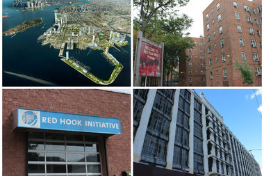 From left clockwise: Rendering of AECOM's plan for Red Hook; NYCHA's Red Hook Houses; the former New York Dock Building at 160 Imlay St.; Red Hook Initiative on Hicks Street.