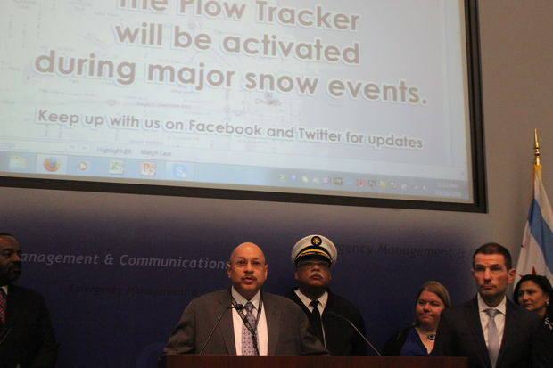 Charles Williams, Streets and Sanitation commissioner, speaks about winter preparedness Friday.