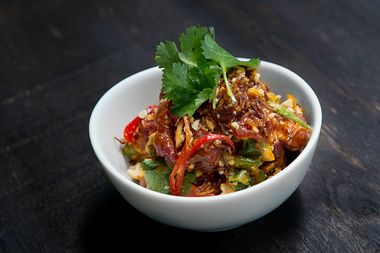 The Spicy Raw Beef includes cilantro, shallots and sriracha.