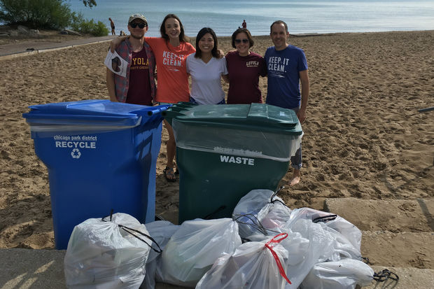 At Ohio Street Beach, Loyola University analyzed data from 44 separate beach clean-up events, which took place from 2003-2014, and represented the effort of 638 different volunteers that picked up a total of 57,066 individual pieces of litter.