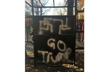Swastikas were found on children's playground equipment at Adam Yauch Park in Brooklyn Heights.