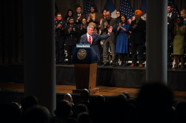 Mayor Bill de Blasio has targeted President-elect Donald Trump as an opponent in his early re-election campaign. Here, he is backed by New Yorkers of all religions and ethnicities during a speech on Trump at Cooper Union's Great Hall.