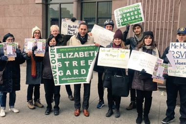 Garden advocates attended the mayor's speech at Cooper Union on Monday and managed to personally hand him an invitation to come to the garden, they said.