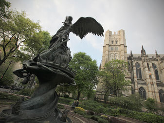 The Peace Fountain, a 1985 sculpture and fountain is located next to the Cathedral of Saint John the Divine in Morningside Heights, NYC.
