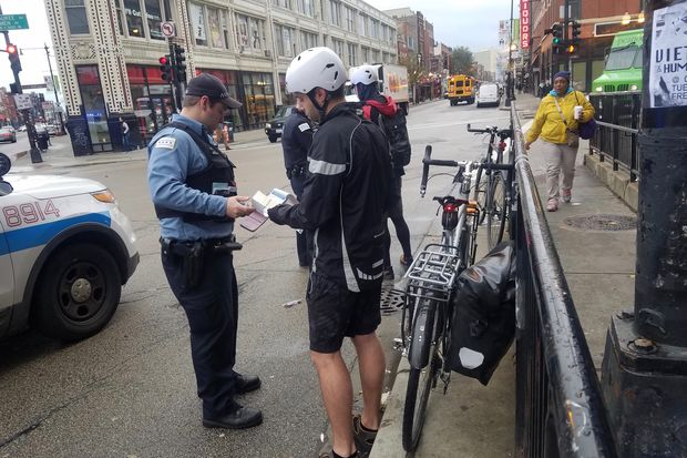 Police are stepping up enforcement of traffic laws and ticketing cyclists.  Two cyclists got tickets for crossing on the pedestrian walk instead of the using the traffic light around 8:15 a.m. Monday.