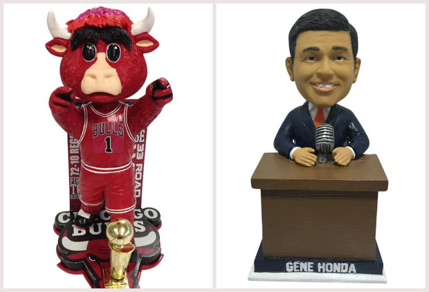 Chicago Bulls mascot Benny the Bull and Blackhawks announcer Gene Honda were honored with limited-edition bobbleheads this week.