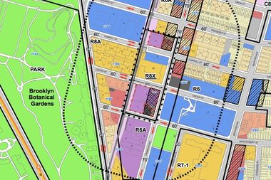 A zoning map from Cornell Realty's application to the city shows the two sites the group is looking to develop, outlined in red dashes.